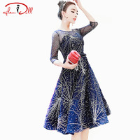 Hot Drilling Starry Sky Evening Vestidos 3 4 Sleeve High Waist Swing Midi Mesh Ball Gown