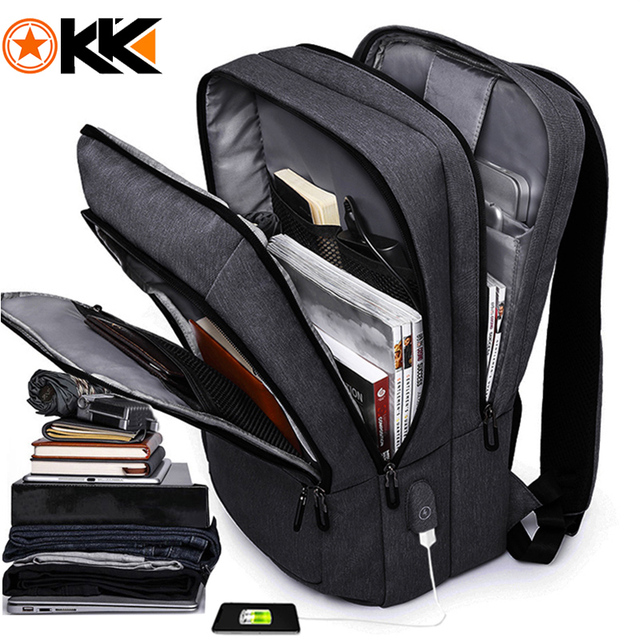 "KAKA Casual Men Backpack USB Charge Large Capacity Travel bag 15.6"" Laptop Backpack schoolbag for teens mochila women back pack"