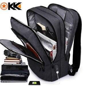"Image 1 - KAKA 캐주얼 남성 배낭 USB 충전 대용량 여행 가방 15.6 ""노트북 백팩 schoolbag for teens mochila women back pack"