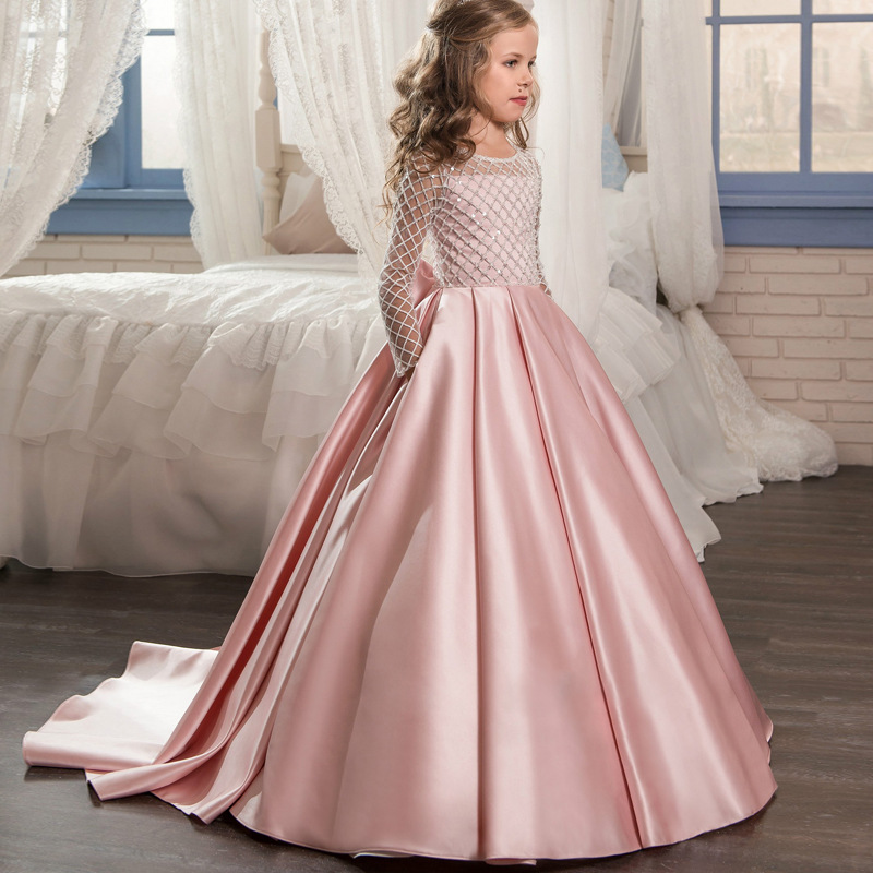 Child Dress Girls Lace Satin Bow Tie Small Tail Flower Girl Princess Dress self tie dual pocket front dress