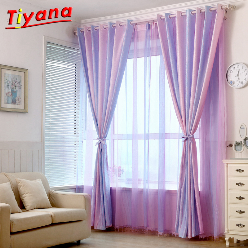 Purple Striped Blackout Curtains For Living Room Window Panels Curtains For The Bedroom Luxury Curtains Tulles Blinds WP149 *20