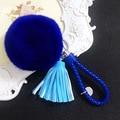 14 Colores 8 CM Genuine Rex Rabbit Fur Bola llaveros para Mujer de Piel Pom Pom Llavero Borla Bolso Del Coche Clave anillos