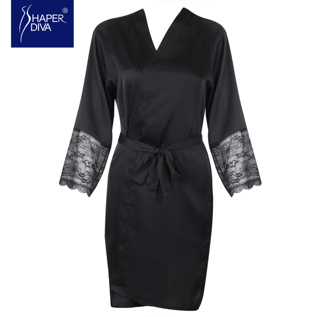 Women Spring Comfortable Robe One-piece Solid and Silk Nightwear Nightdress Design Lace Nightgown Sexy Night Robes