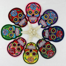 Patch brodé crâne mexicain pour vêtements fer sur Applique pour vestes Patch motard vêtements Halloween vêtements autocollants Badges(China)