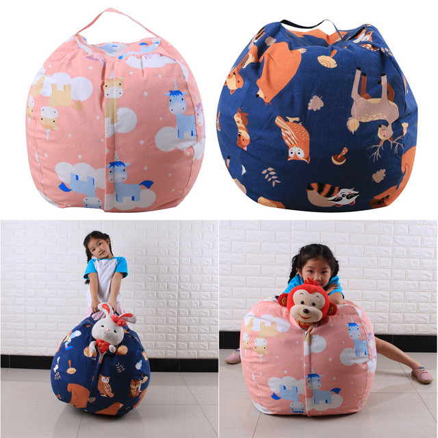 Kids Stuffed Animal Plush Toy Storage Bean Bag Soft Animal Pouch Stripe print Portable Kids Clothes big Cotton Storage Bags 2018