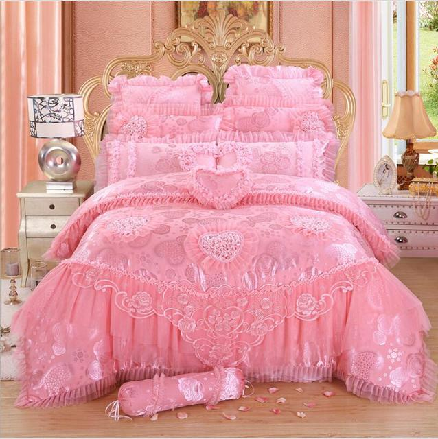 4/6/8 pcs red/pink lace princess bedding set luxury girls wedding bed set quilt cover bed sheets queen King size 2018 New Design