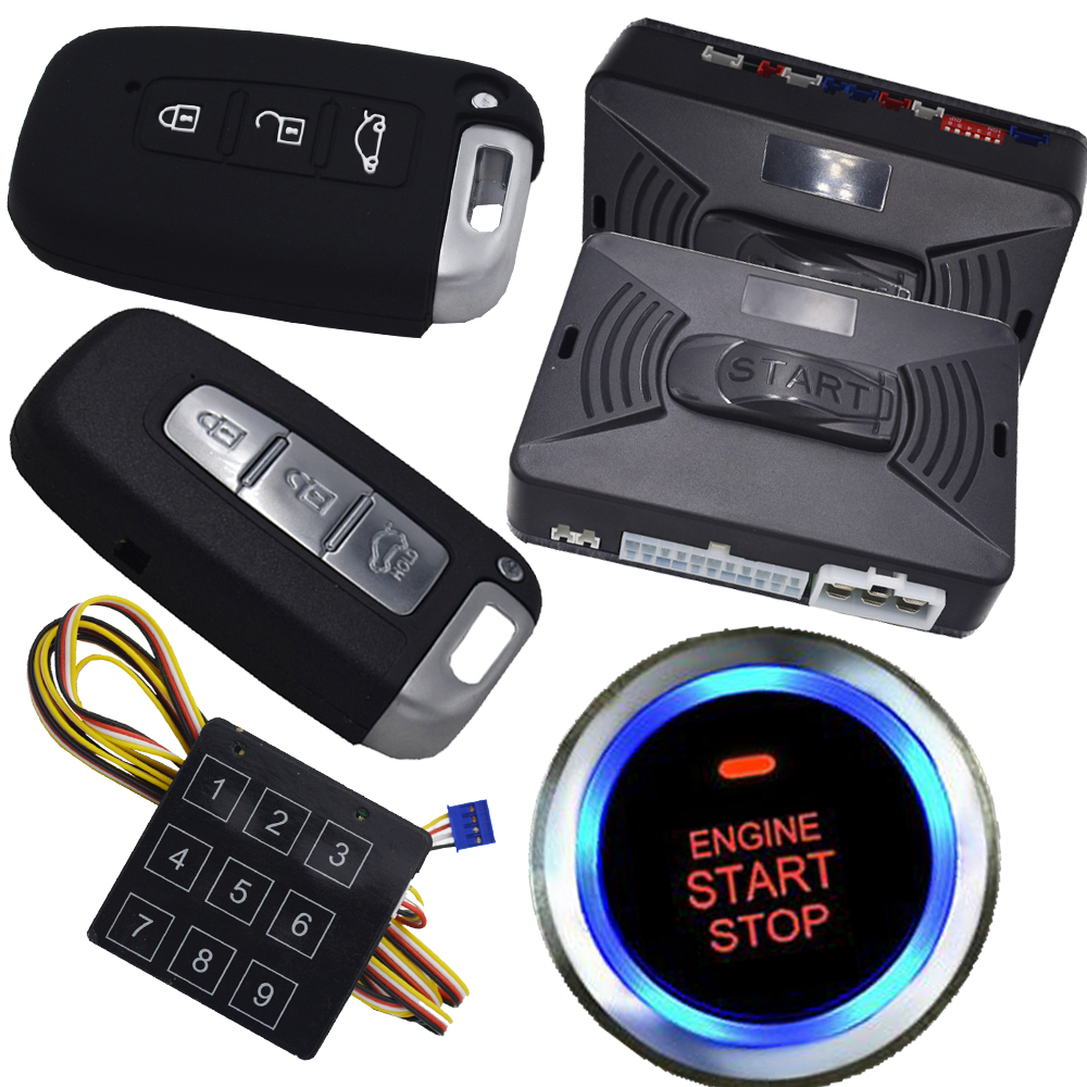 auto car engine start alarm system with keyless entry central lock system shock sensor and side door double alarm protection все цены