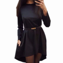 Women 2018 Autumn Plus Size Solid Casual Dress Popular Long Sleeve O-neck Loose Dress Autumn Winter Dresses Without Belt Q0074