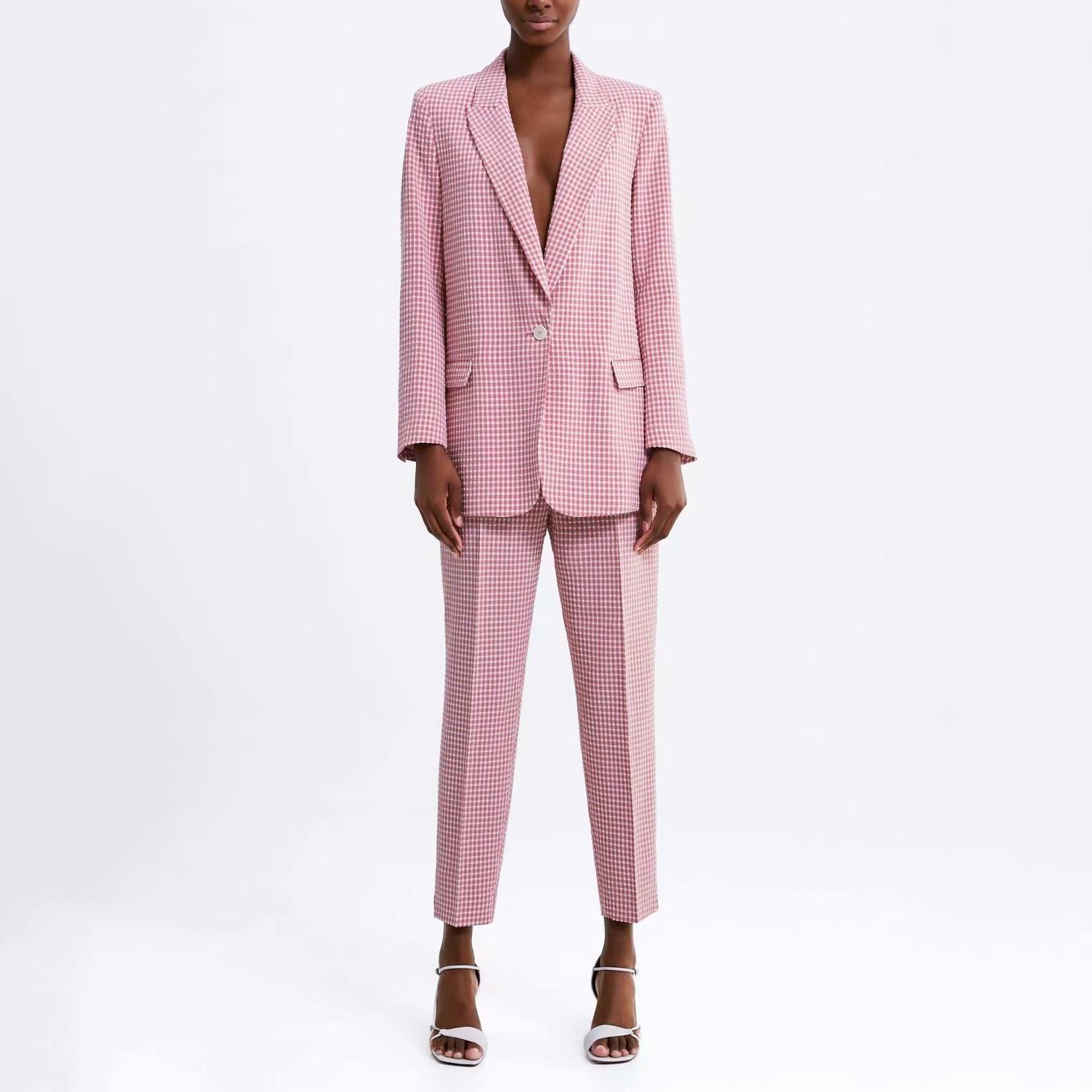 Casual Plaid Two Pieces Set Women Pant Suits Clothes 2019 Spring Summer Button Blazers Coats And Pants Pant Suits