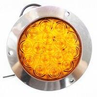 1Pair 12 24V Yellow White Round Reverse Brake Turn Signal Rear Tail Light 16 LED For