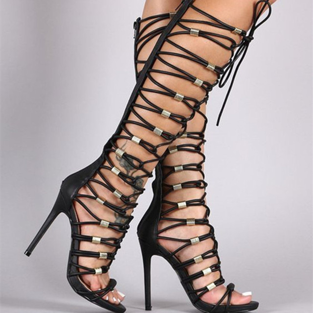 Aliexpress.com : Buy Strappy Lace Up Gladiator Heels Stilettos ...