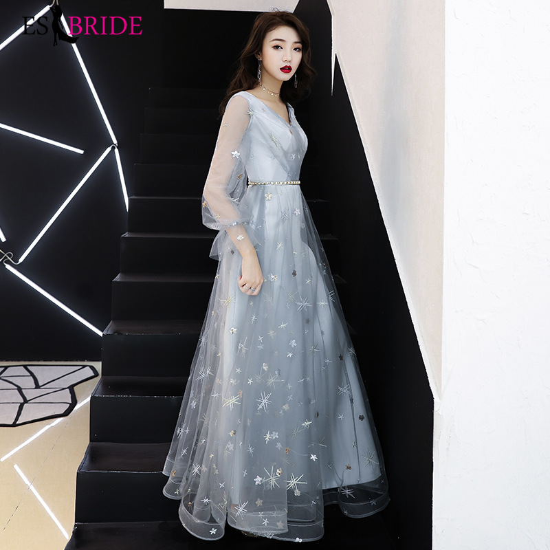 Formal Party   Evening     Dresses   Long Grey Simple V-neck Sleeveless Wedding Guest Gown Backless Elegant Abito Da Cerimonia ES2498