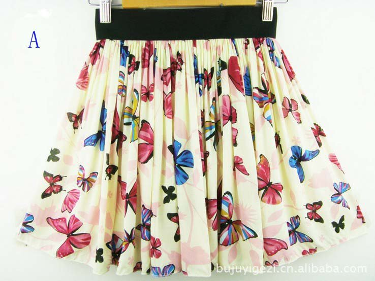 Women cotton Pleated Short Skirt Printed Butterfly Skirt Elastic Waist all match Mini Skirt  Free Shipping 3 colors 077