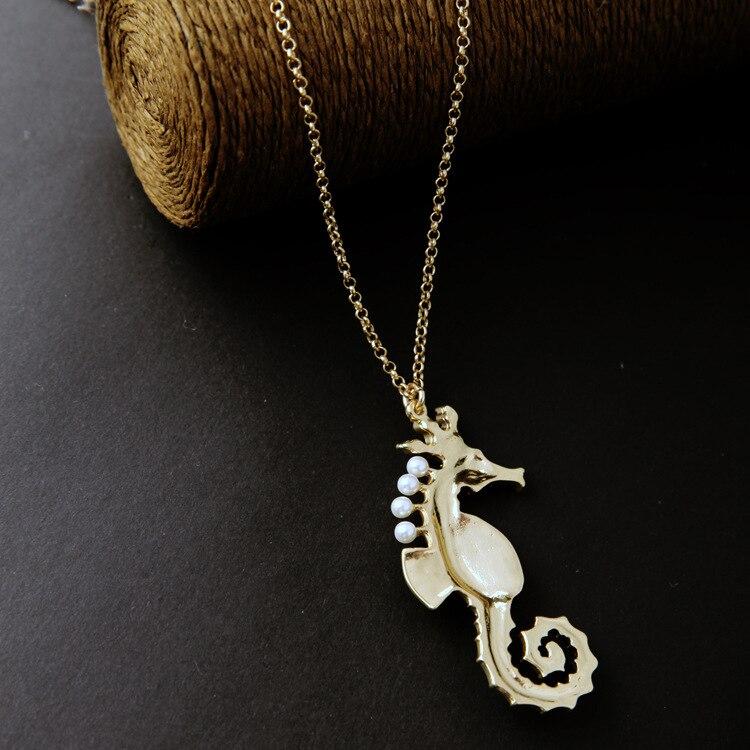 Ocean Enamel Simulated Pearl Amethyst Seahorse Floating Pendent Long Necklace