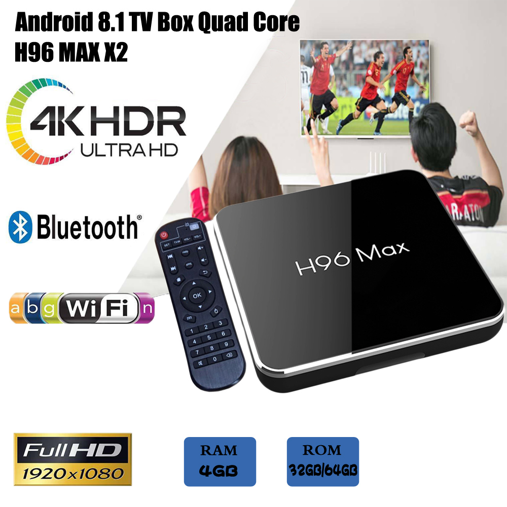 H96 max x2 Smart TV BOX Android 8.1 4 gb 64 gb Amlogic S905X2 Quad Core 2.4 ghz/5 ghz WiFi BT4.0 Set top box 4 gb 32 gb media playerH96 max x2 Smart TV BOX Android 8.1 4 gb 64 gb Amlogic S905X2 Quad Core 2.4 ghz/5 ghz WiFi BT4.0 Set top box 4 gb 32 gb media player