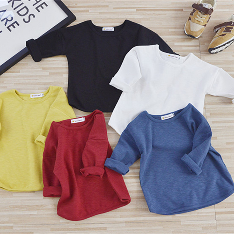 все цены на 2018 New Spring Baby T Shirts Girl Boys Solid Color Long Sleeve T-shirt 1-7 Years Kids Tops Autumn Children Clothing Girls Tee
