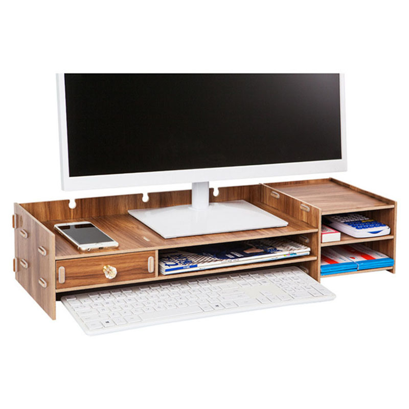 Wooden TV Monitor Stand Riser Computer Desktop Organizer Keyboard Storage Boxes Desk Organizer Home Storage Organization