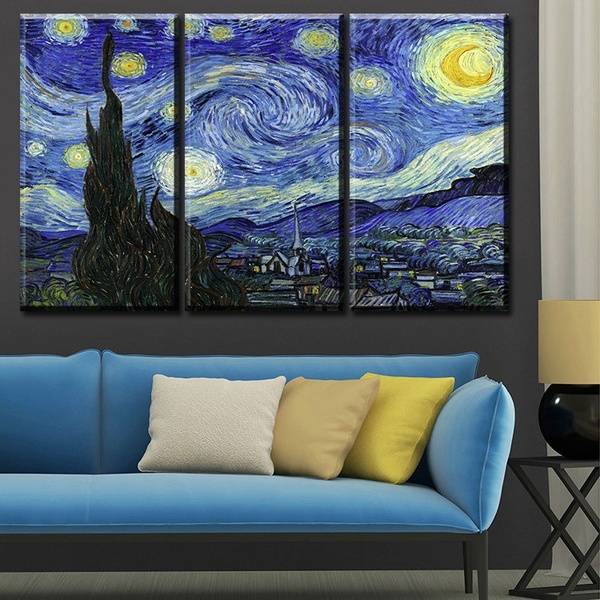 3 pcs Unframed Vincent van Gogh STARRY NIGHT C.1889 Art Wall Picture Canvas Printed Oil Painting by Numbers Fashion Home Decal