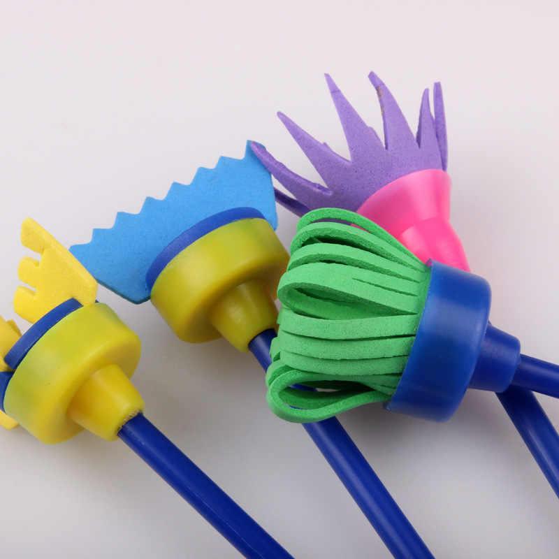 4 unids/set pincel de pintura de flores cepillo de esponja giratoria Graffiti niños papelería escolar suministros arte dibujo pintura juguete