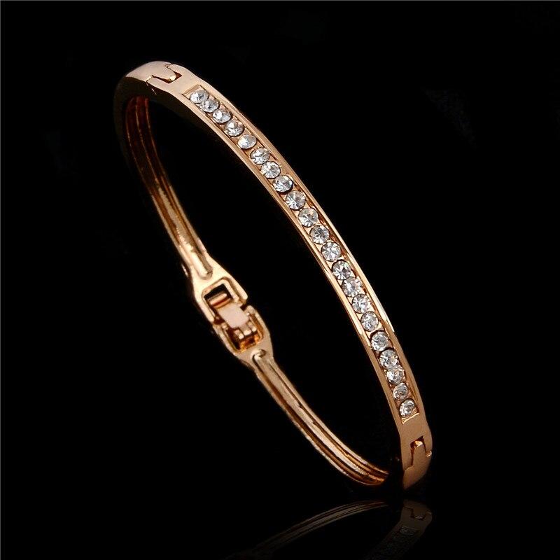 SHUANGR mode bijoux couleur or Rose cristal autrichien classique Bracelets à Bracelet fermé pour femme, Bracelet pour femme