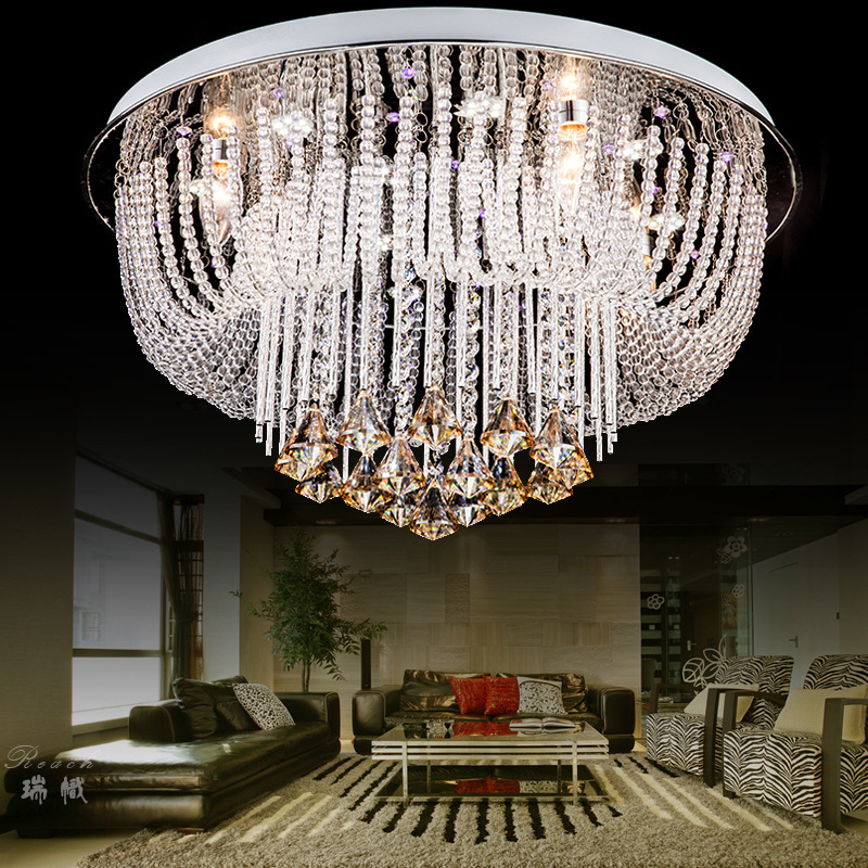 Plafondlamp LED Avize led Circular Ceiling Lights Plafonnier led Moderne Circle Round Crystal Ceiling Lighting Home Lamp Fixture