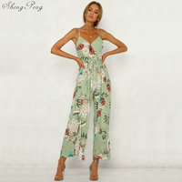Multicolor Vacation Bohemian Beach Backless Jungle Leaf Print Cami Mid Waist Jumpsuit Summer Women Weekend Casual Jumpsuit V790