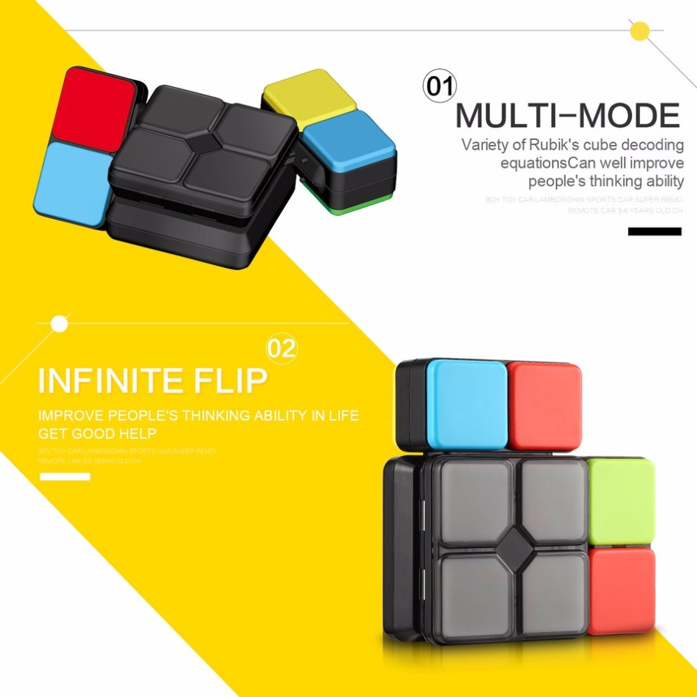 4 Game Modes Flip Slide Cube Puzzle Toy with Light Speed Level Memory  Multiplayer Modes Funny Electronic Educational Toys Gift