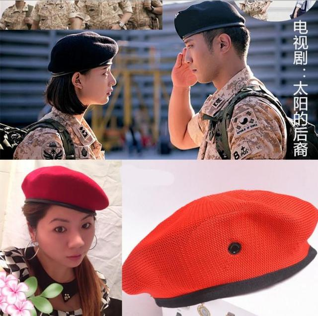 7355336d Military Hats TV Costume cosplay police military officer hats beret  ventilate cap &Faux leather woolen beret soldier theme show