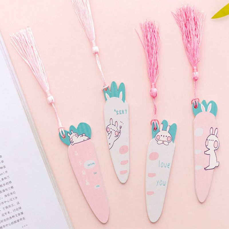 Cute Cartoon Rabbit Carrot Wooden Bookmark Book Page With Tassel Student Stationery Exquisite Gift