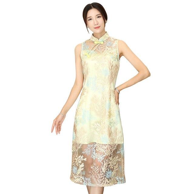 2019 Nuovo Giallo Fiori Cinese Ladies  Abito di Alta Moda Senza Maniche  Lungo Cheongsam di b136002d99c