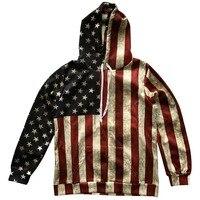 Mens Sweatshirt American Flag Printing Men Hood Tracksuit Hip Hop Clothing 3d Galaxy Digital Women Star