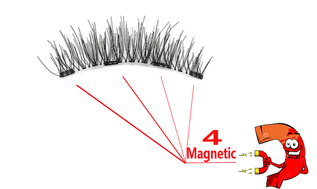 MB Magnetic eyelashes with 4 magnets Mink eyelashes natural long with applicator faux cils magnetique False Lashes extension 2