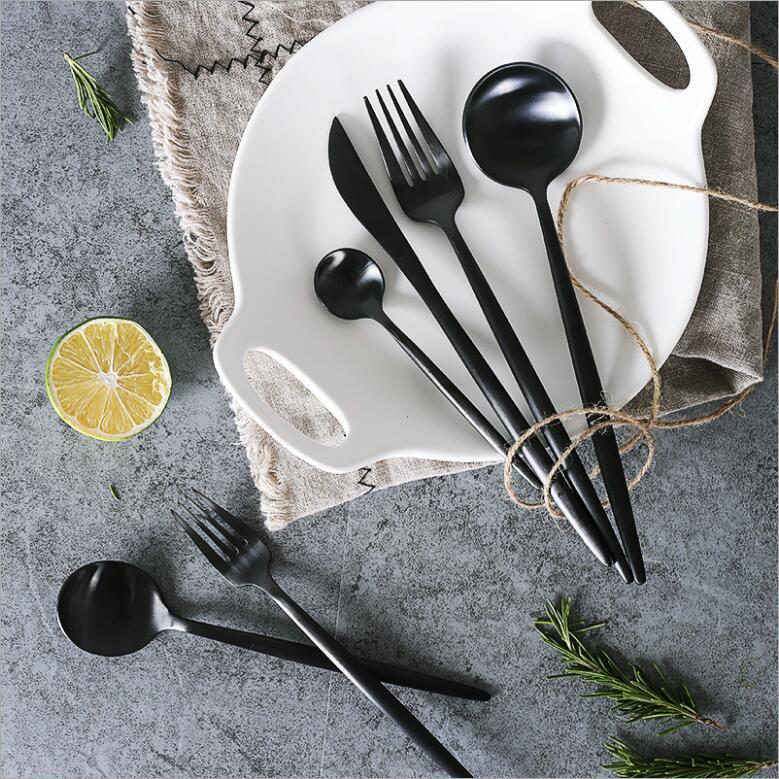 Acier Inoxydable Noir Dinnerware Set Set de Couverts Mariage Argenterie Set 4pcs//set