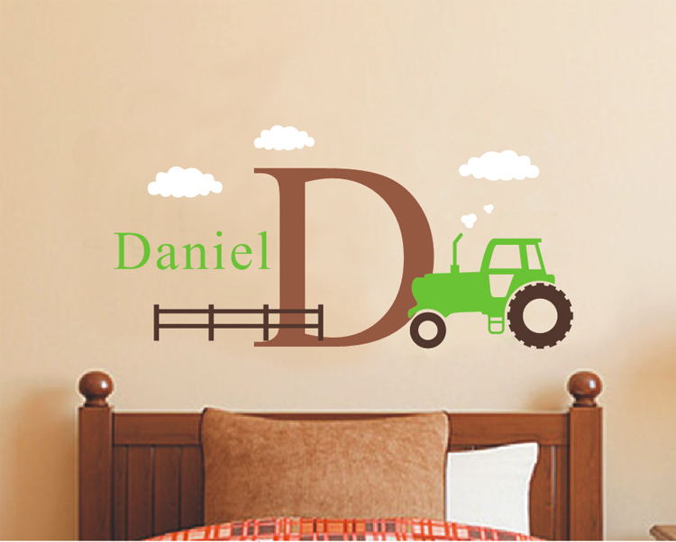 Large Tractor Wall Decal Set -Boys Name and Initial Decal -Personalized Cartoon Boy Decal