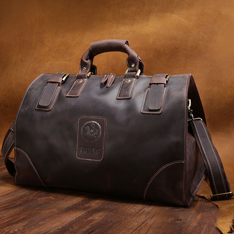 Tiding Luxury Vintage Men's Travel Bag Large Leather Luggage Bags Brown Travel Duffle Wild Style Shoulder Bag Real Leather Tote free shipping vintage style mens genuine leather large luggage duffle gym bag shoulder tote handbag travel bag 3061 black