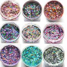 50g/bag 28Color Nail Art Glitter Powder Dust Sequins Holographic Mixed Size Chunky For DIY
