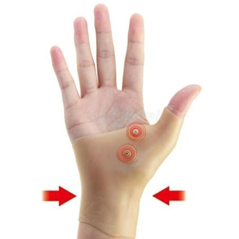 1 pc Silicone Glove Hand Care Magnetic Thumb Wrist Sprain Threapy Tenosynovitis Muscle Pain Relief Protector Glove L4 ...