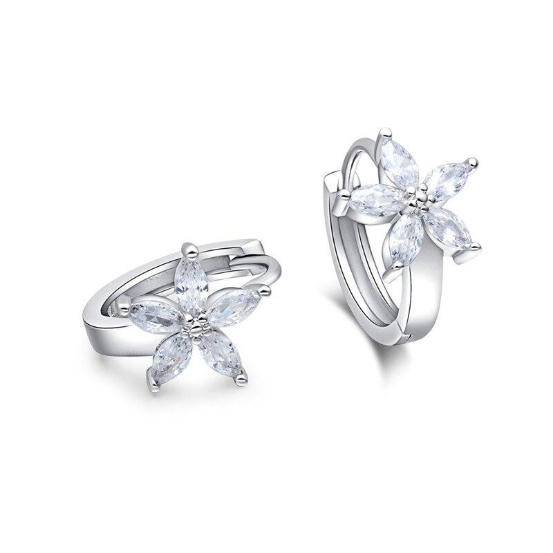 2802d5262dbf Qcooljly moda color plata joyería blanco CZ ZIRCON Pendientes elegante flor  mujeres boda Pendientes de aro joyería del encanto