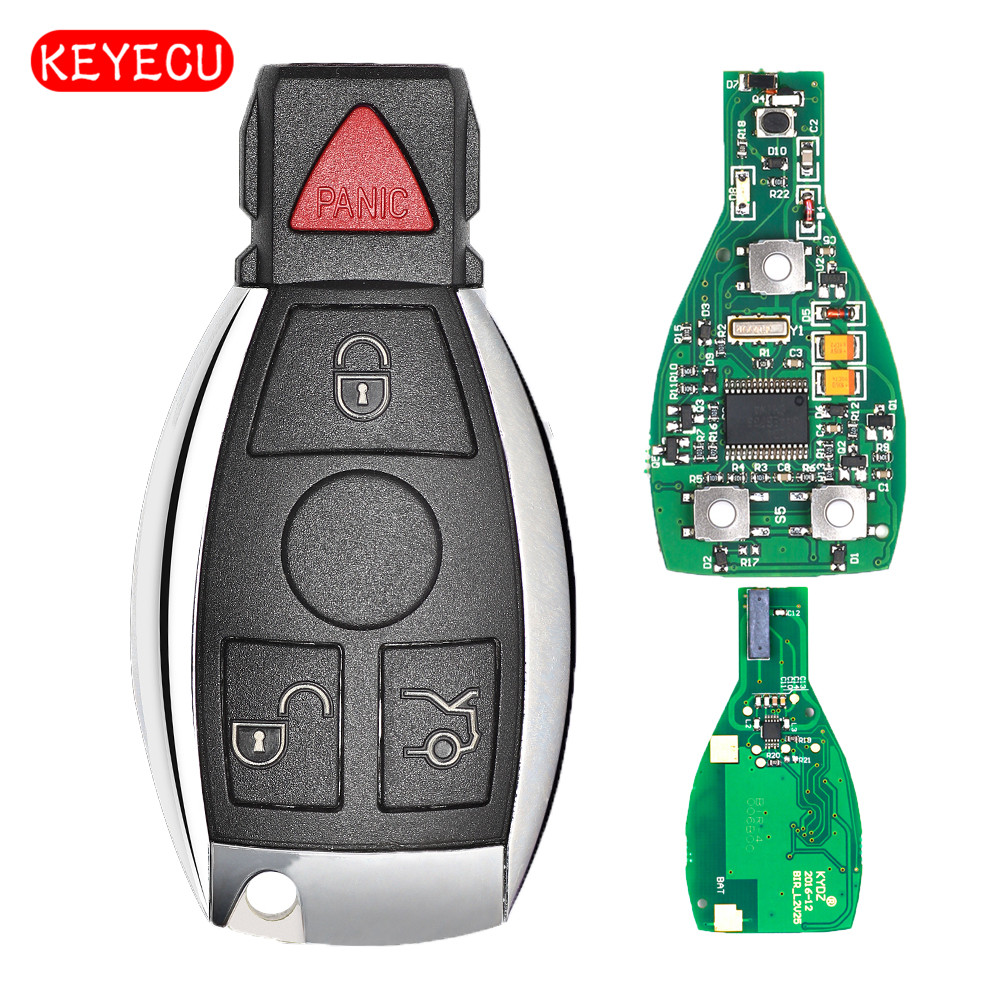 Keyecu Smart Key 4 Buttons 315MHz 433MHz for Mercedes Benz Auto Remote Key Support NEC And BGA 2000+ Year new updating smart key for benz 3 button 433mhz 315mhz easy to create a new key for mecerdes good quality