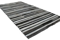 Striped Black Gray And White Leather Area Rug Design No 269