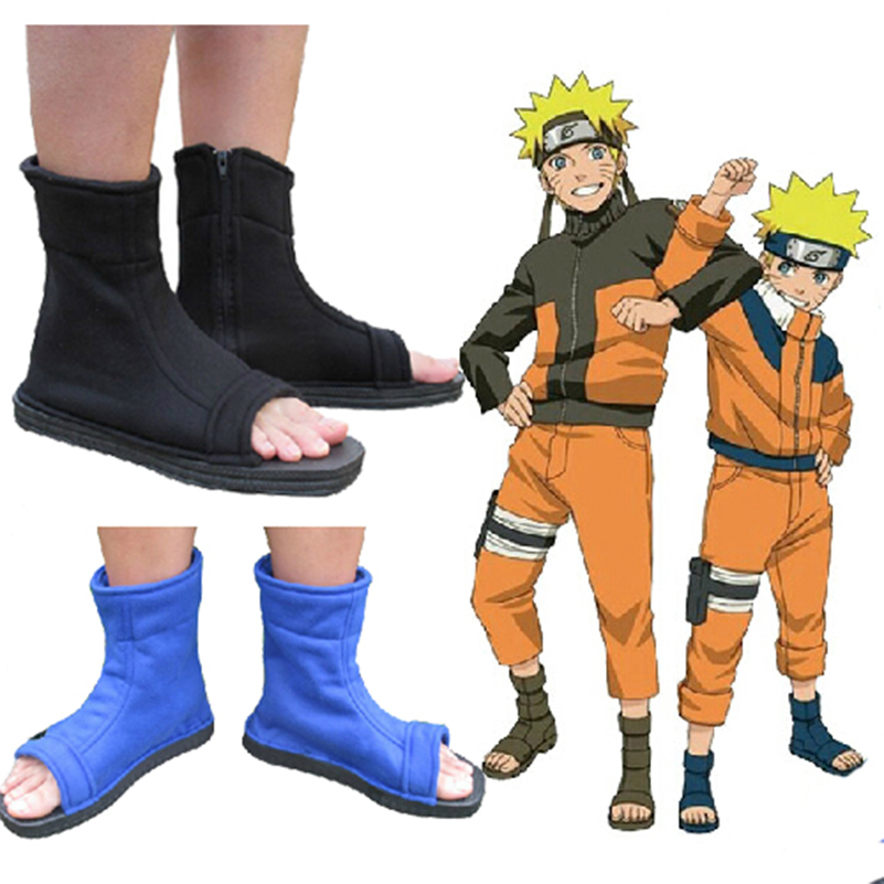Naruto Shoes Sasuke Kakashi Uchiha Sasuke Blue Black Fuu cosplay shoes boots