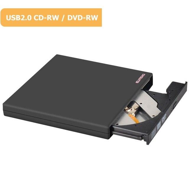 ELUTENG DVD Leitor de DVD-ROM RW Drive Gravador de DVD Externo USB 2.0 Alimentado 8x/CD-ROM 24x Alta Velocidade DVD RW Burner para Laptop PC