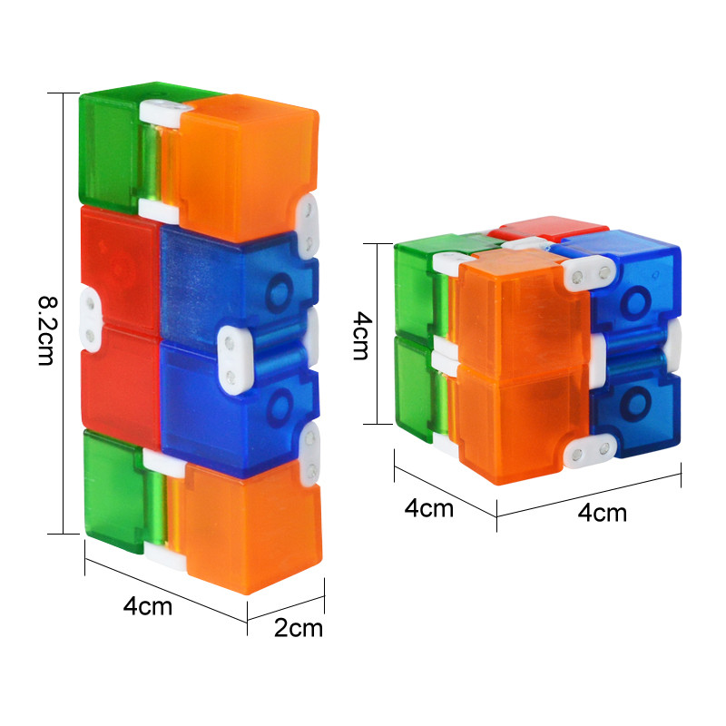 New Colorful Cube Plastic Infinity Cube For Stress Relief Anti Anxiety Stress  Funny EDC Toys for