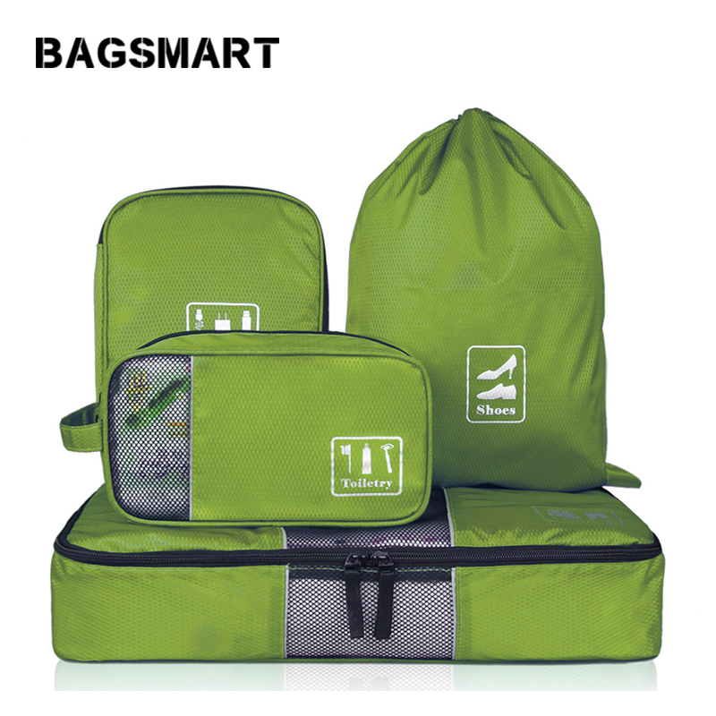 BAGSMART 4 pcs / set Bolsas de viaje de moda Bolsas de viaje multifuncionales portátiles para la ropa Bolsas de zapatos de alambre de maquillaje