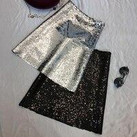 High Waist Glitter Sequins Skirt for Women2018 Autumn Bodycon Elastic Sexy Mini Skirts Ladies Party Skirts Faldas Mujer Moda