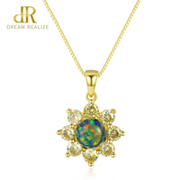 DR 925 Sterling Silver Sun Flower Design Opal Pendant Necklace for Women Yellow Gold Silver Chain Necklace Jewelry Gift 2019