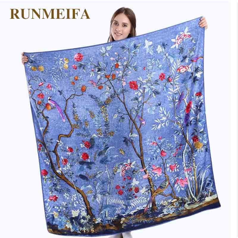 New Arrival 2018 Twill Silk Square Scarf Women 100% Real Silk Fashion Flower And Bird  Square Scarf Silk Gifts