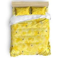 Set de edredón con estampado de abejas y abejas  colección de dibujos amarillos de 3/4 Uds.  juego de cama  Sábana  funda para almohada