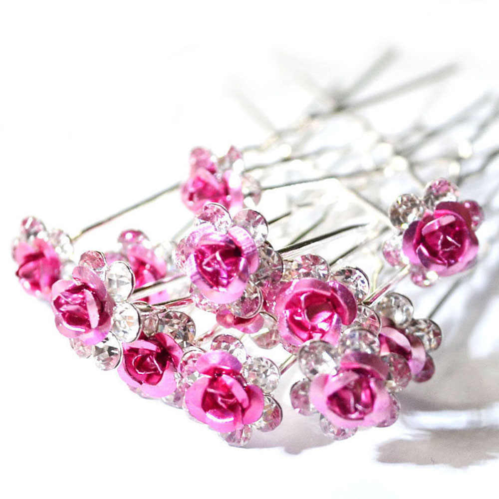 20Pcs Chic Crystal Rose Flower Hair Clips Fashion Wedding Bridal Hair Pins Bridesmaid Jewelry Women Hair Accessories
