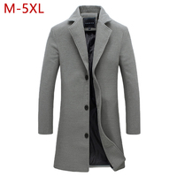 M 5XL Men Big Size Casual Long Jacket Autumn Winter Male Business Solid Outwear Windbreak Parkas Trench Varsity Frock Coat CF28